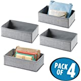 mDesign Rectangular Soft Fabric Dresser Drawer and Closet Storage Organizer for Lingerie, Bras, Socks, Leggings, Clothes, Jewelry, Scarves - Pack of 4, Light Gray