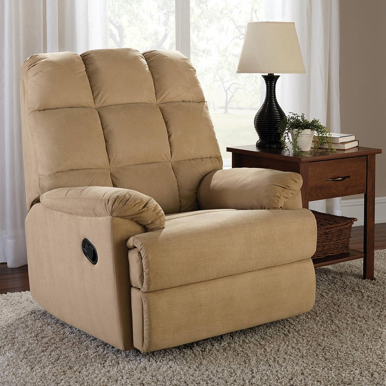 Amazon.com: Mainstays [Collection] Upholstery Microsuede Rocker Recliner,  Beige: Home U0026 Kitchen