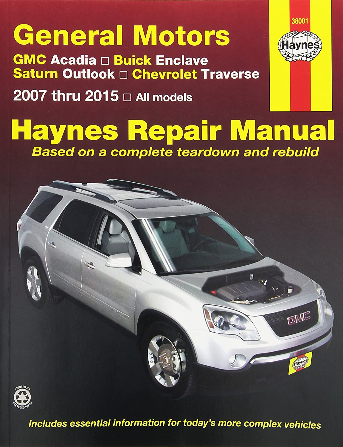Amazon.com: Haynes Repair Manual covering GMC Acadia (2007-2013), Buick  Enclave (2008-2013), Saturn Outlook (2007-2010) and Chevrolet Traverse  (2009-2013) ...