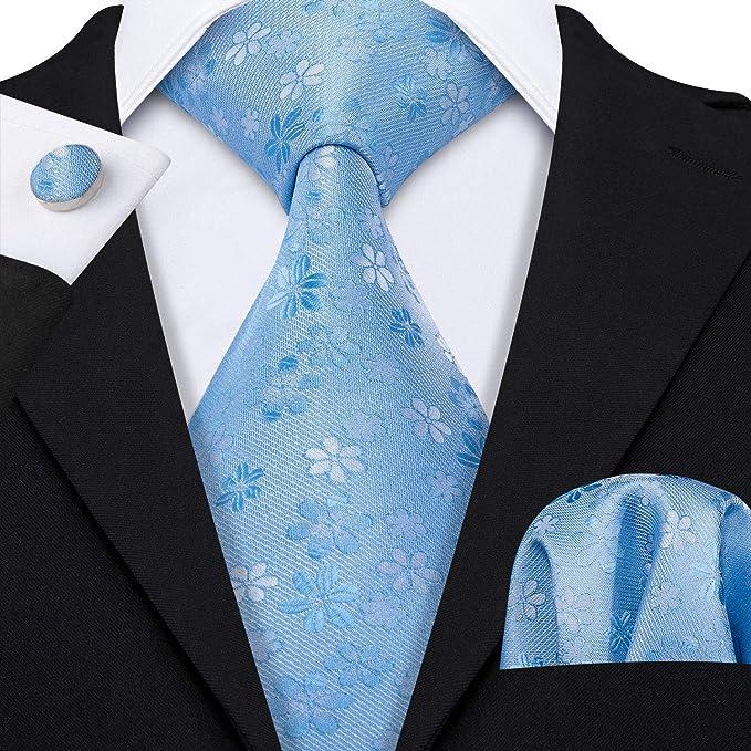 dfd38a23d4bc Silk Blue Tie Set Handkerchief Cufflinks Necktie Set Fashion Men Ties Woven  Silk