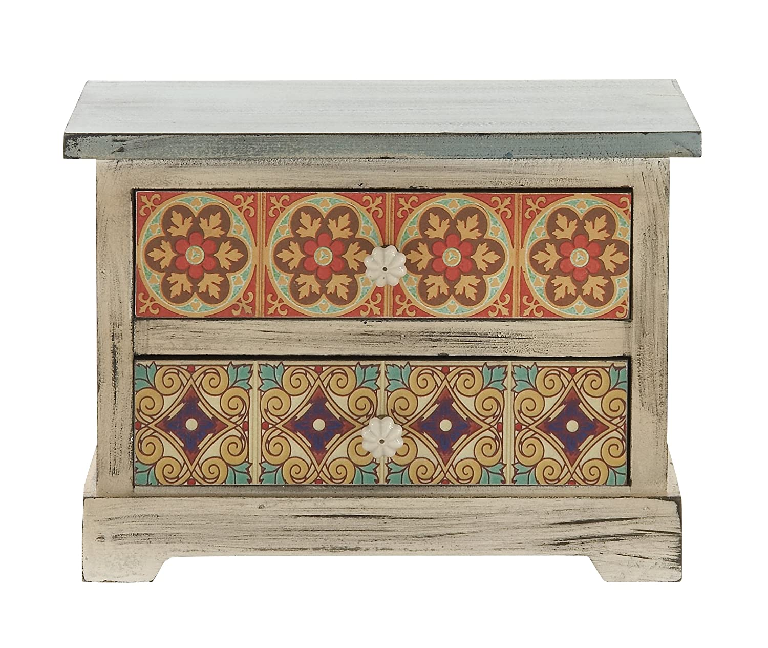 Deco 79 56651 Wood & Canvas Accent Chest, 14W/10H 14W/10H