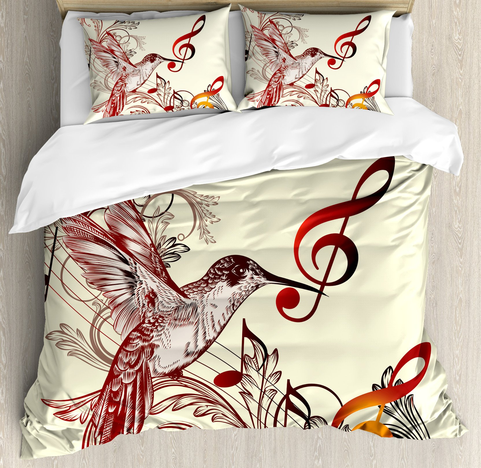 Hummingbirds Decorations King Size Duvet Cover Set by Ambesonne, Flying Bird and Music Notes Clef Five Line Staff Musical Creative Artistic Ornate, Decorative 3 Piece Bedding Set with 2 Pillow Shams