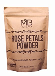 MB Herbals Rose Petals Powder 227g | Half Pound | Rosa centofolia Natural Face Packs & Facial Mask Formulations | 100% Pure | Chemical-Free | Preservative-Free