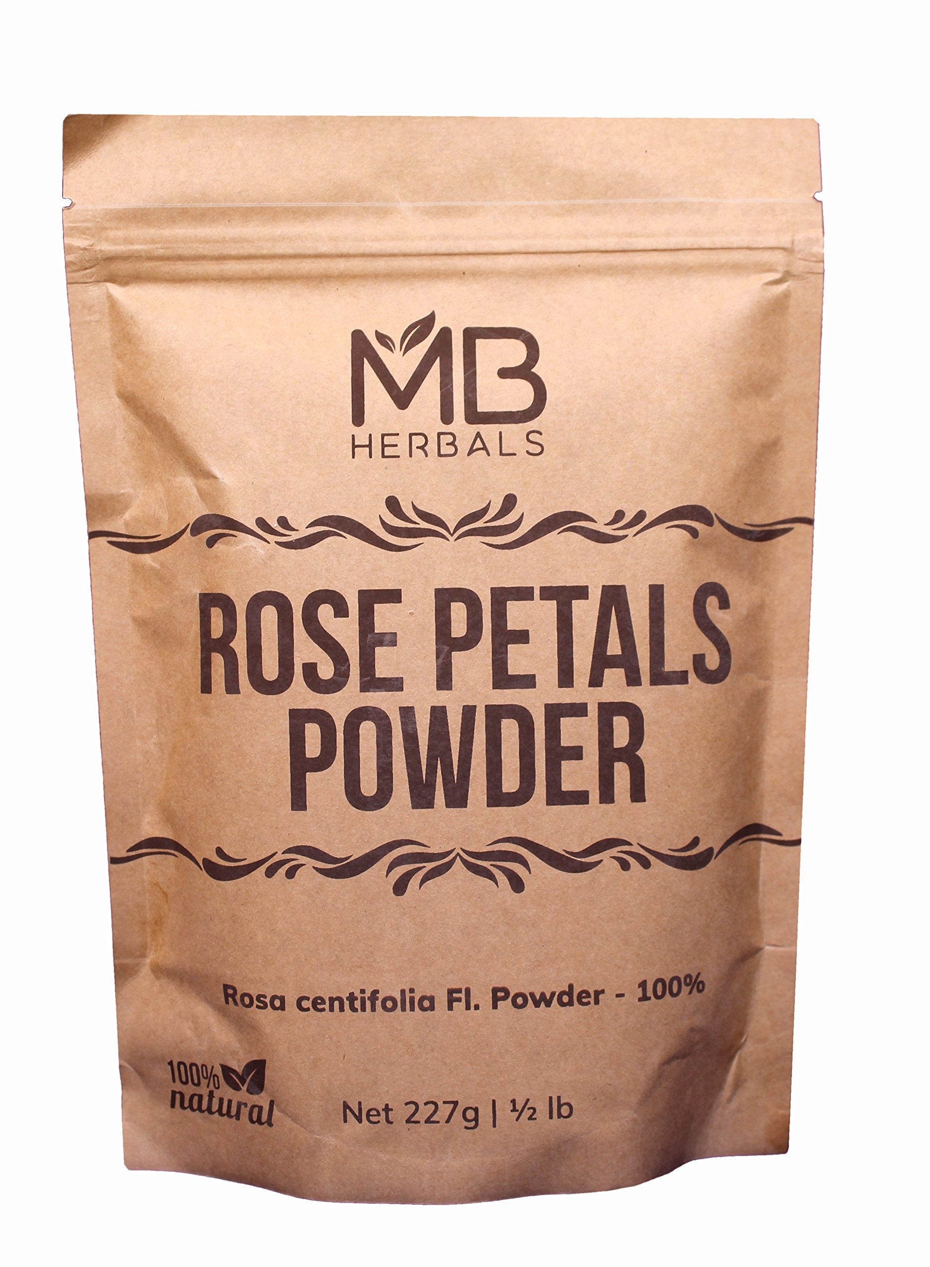 MB Herbals Rose Petals Powder 227g   Half Pound   8 oz   Rosa centifolia   Kashmir Origin   for Natural Face Packs & Facial Mask Formulations   100% Pure   Chemical-Free   Preservative-Free