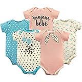 Luvable Friends Baby-Boys Unisex-Baby Cotton Bodysuits, 5 Pack Short Sleeve Shirt