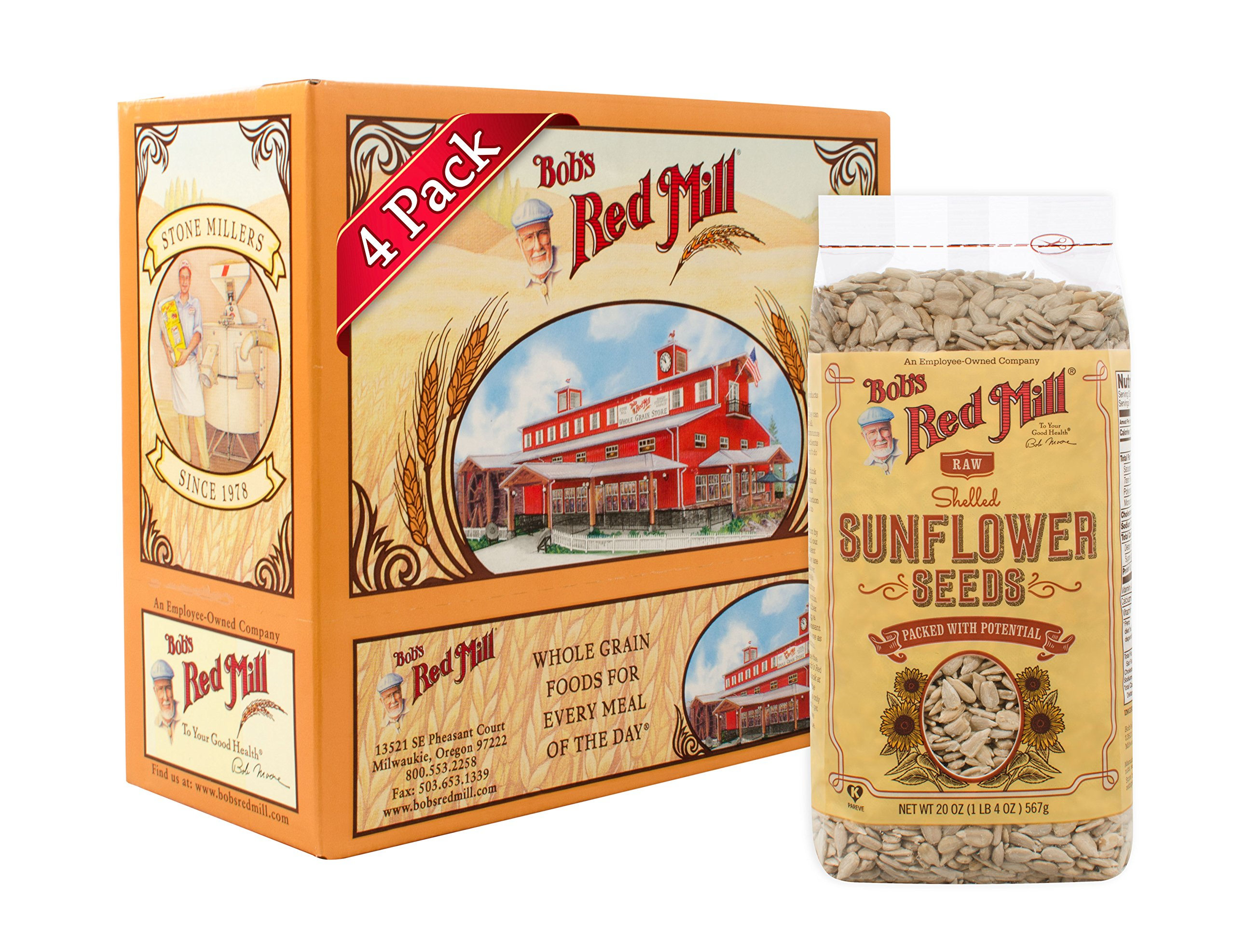 Bob's Red Mill Raw Shelled Sunflower Seeds (Kernels Only), 20-ounce (Pack of 4) by Bob's Red Mill