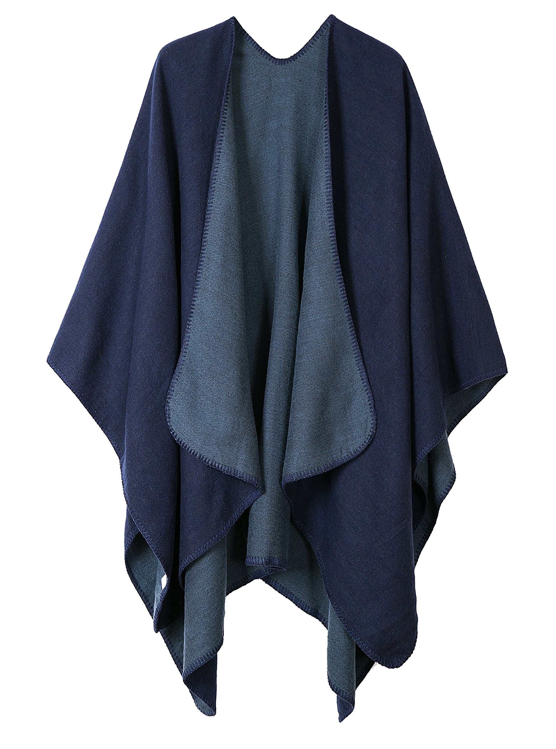 Urban CoCo Women's Color Block Shawl Wrap Open Front Poncho Cape (Series 7-navy blue)