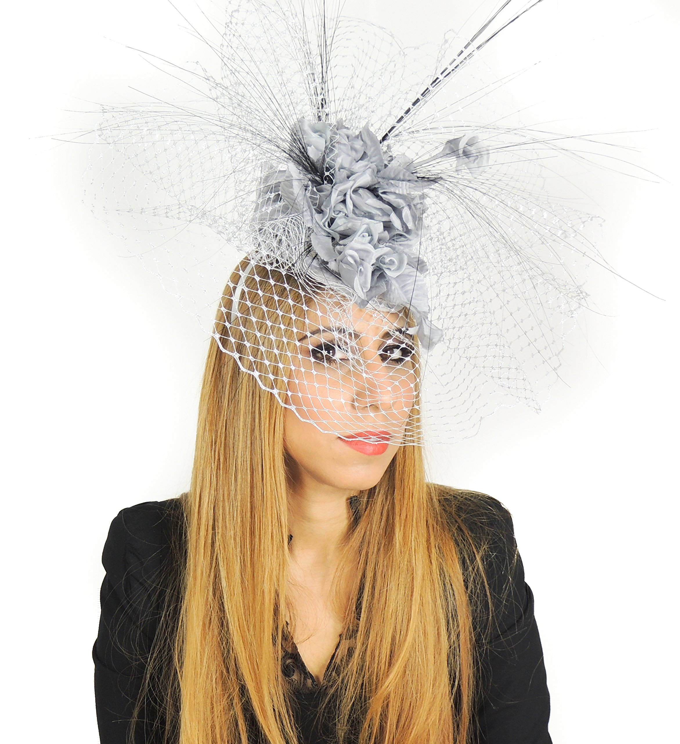 Hats By Cressida Ladies Wedding Races Ascot Derby Fascinator Headband Silver