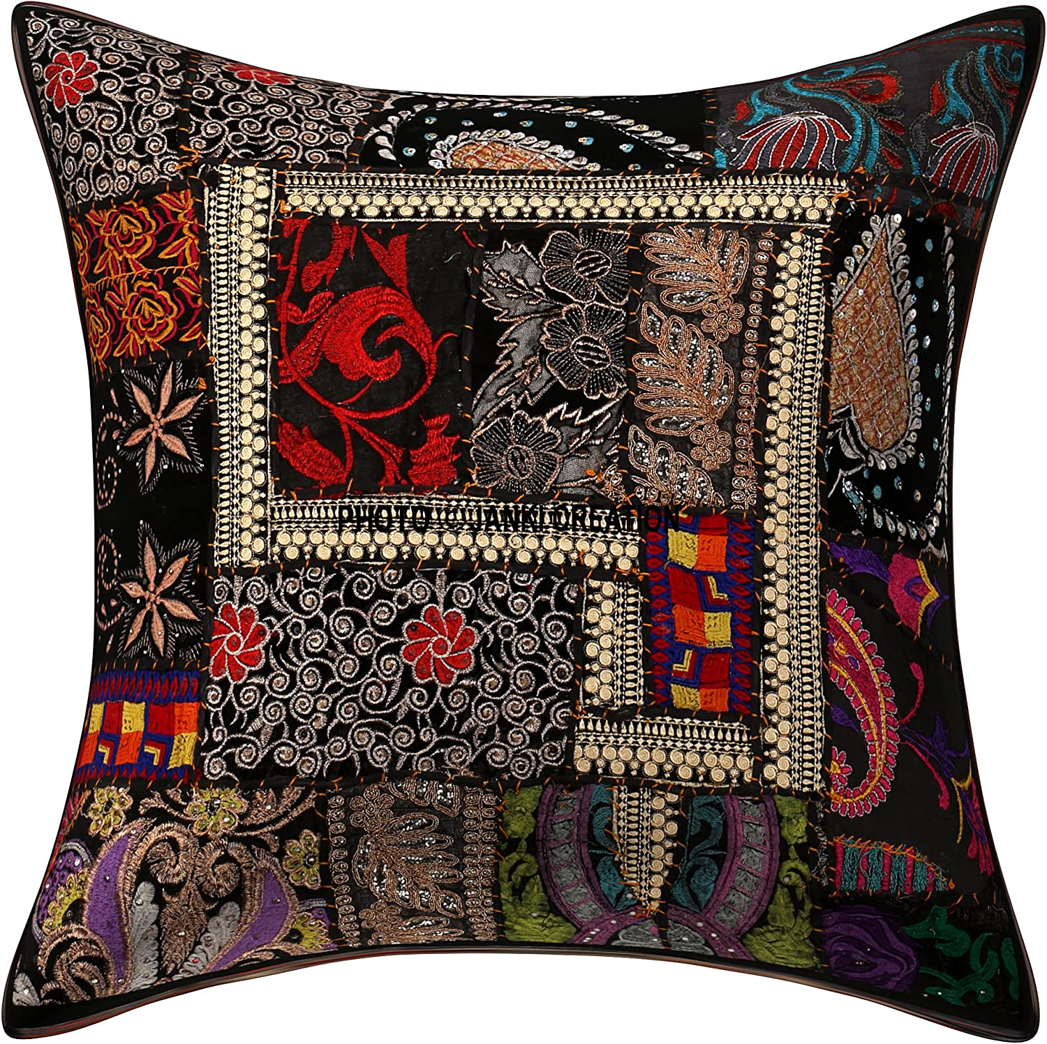 Indian Red Paisley Cushion Cover Cotton Square Throw Pillow Cases Decor