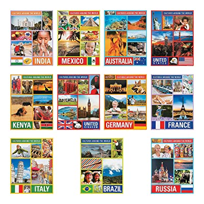 Fun Express Cultures Around The World Learning Chart - 12 Pieces - Educational and Learning Activities for Kids: Toys & Games