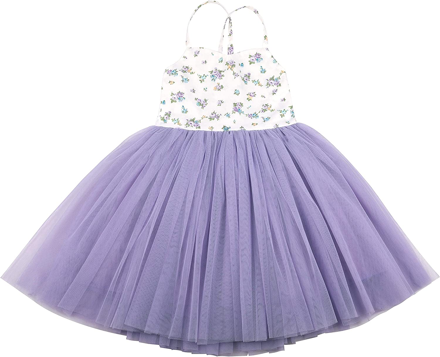 Flofallzique Tutu Flower Girls Dress Wedding Birthday Party Toddler Sundress for 1-10 Y