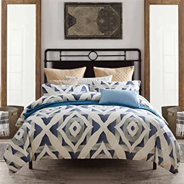 Pumpkin Town Micro, 3 Pieces(1 Cover+2 Pillow Shams),Queen Size, White and Navy Blue, Geometric Pattern Duvet Bedding Set, 1500 Thread Count Super Soft Microfiber with 4 Corner Ties, Zipp