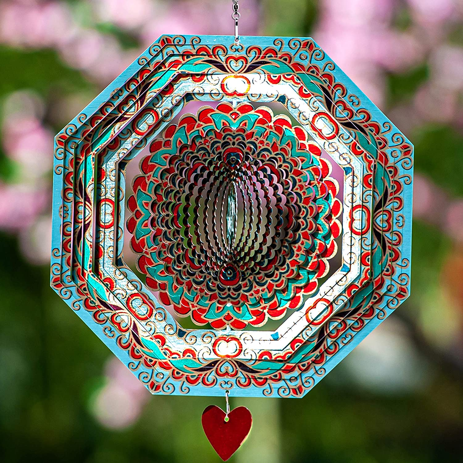 Wind Spinner Mandala Mystique 12 inches – 3D Stainless Steel – Laser Cut Metal Art Geometric Pattern - Hanging Wind Spinner, Kinetic Yard Art Decorations - Indoor/Outdoor Decor