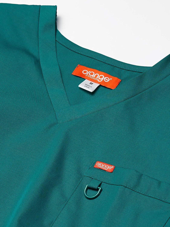 Orange Standard Mens Balboa V-Neck Unisex Scrub Top with Multiple Pockets and D-Ring Medical Scrubs Shirt