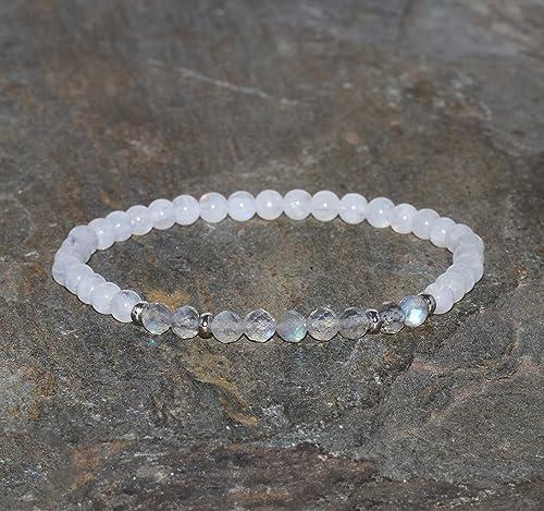 Labradorite MoonStones Moonstone Bracelet Sterling Adjustable by MagpieMadness for Etsy Labradorite Bracelet Chunky Statement Bracelet