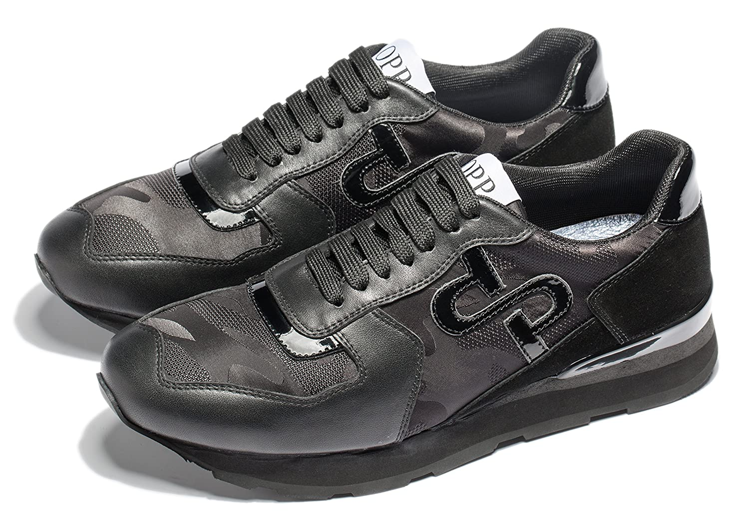 OPP Men's Fashion Leather Sports Sneaker Lace-up Rubber Soft Sole Casual Shoes 9.5  M US|Black