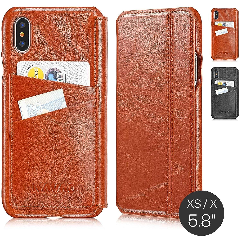 KAVAJ Custodia iPhone X in Pelle Dallas Vera Pelle Nero Cover in