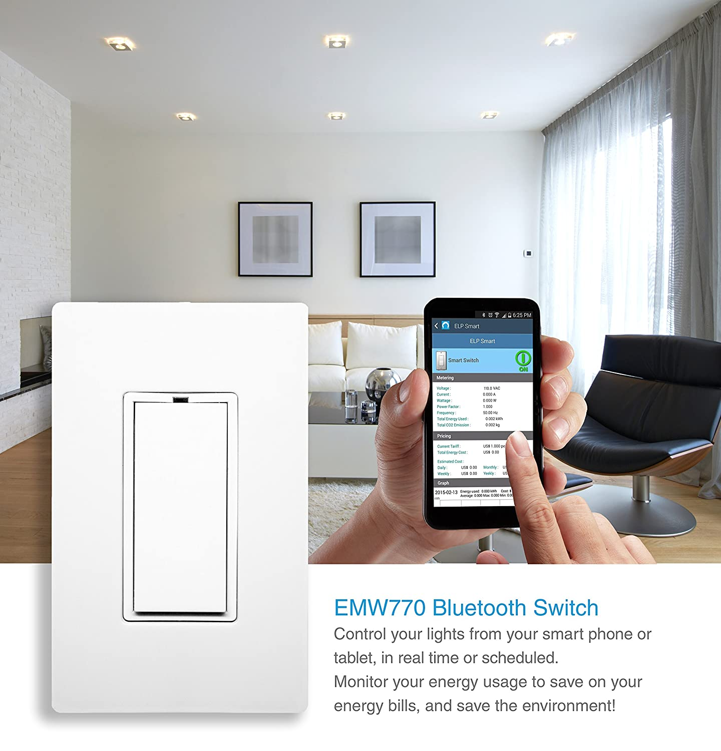 Bluetooth 4.0, Smart Light Switch with Energy Meter and Home ...