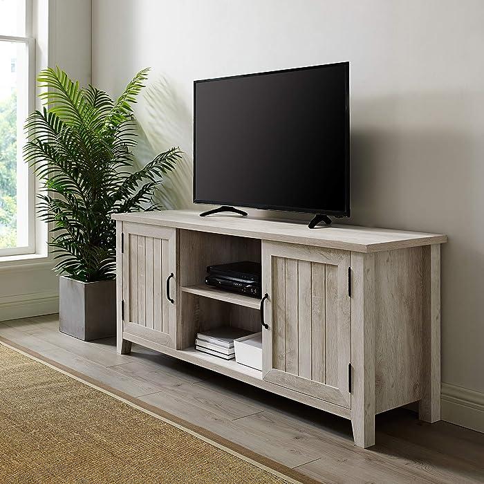 "WE Furniture AZ58CS2DWO TV Stand, 58"", White Oak"