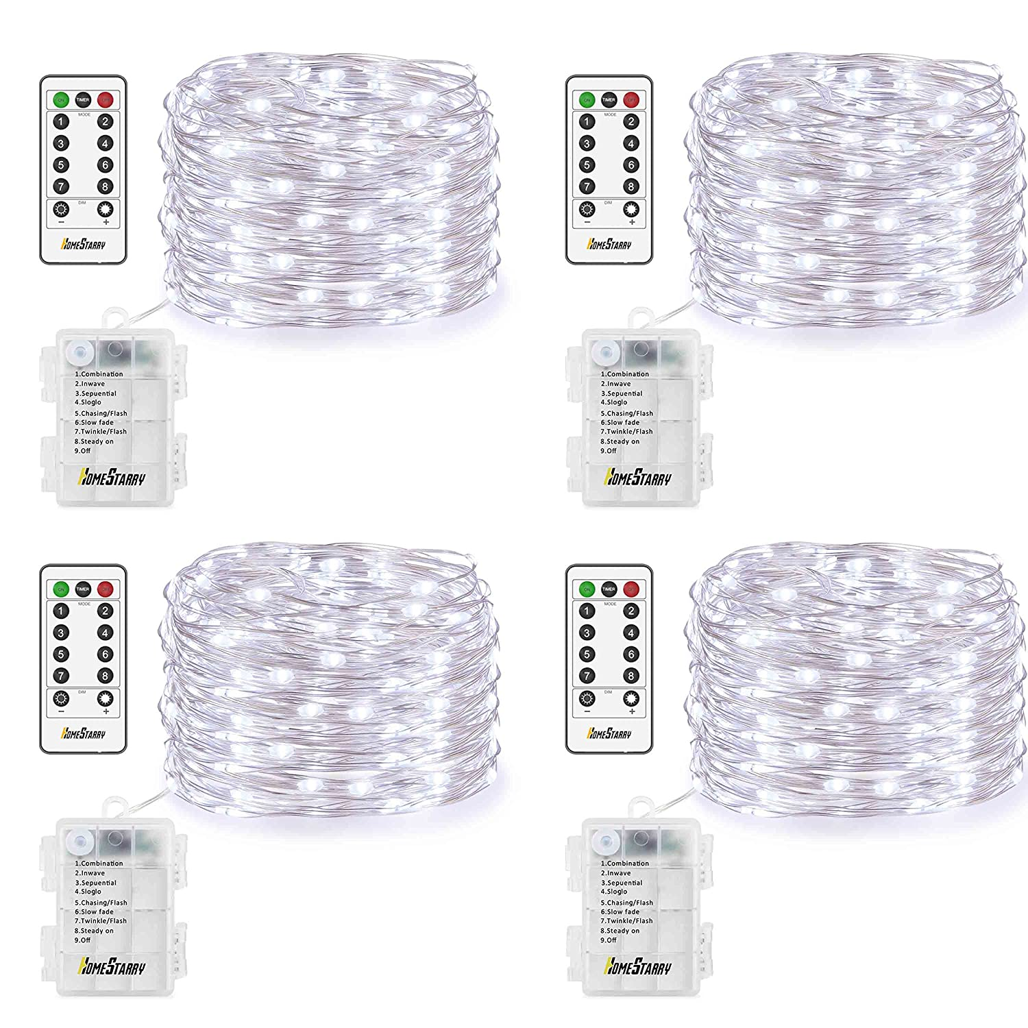 4 Pack Fairy Lights Fairy String Lights Battery Operated Waterproof 8 Modes Remote Control 50 Led String Lights 16.4ft Silver Wire Firefly lights for Bedroom Wedding Festival Decor (Cool White) ¡­