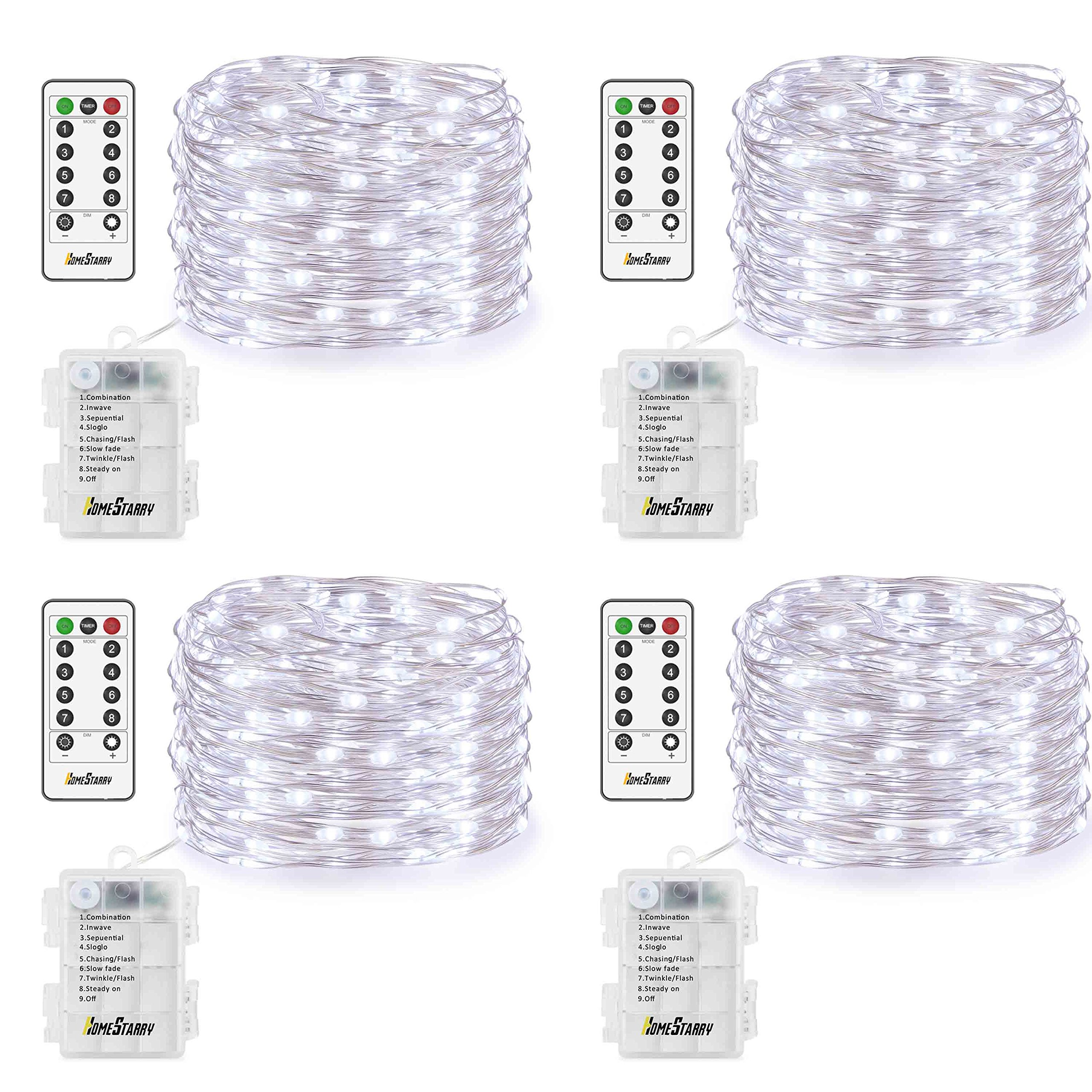 4 Pack Fairy Lights Fairy String Lights Battery Operated Waterproof 8 Modes Remote Control 50 Led String Lights 16.4ft Silver Wire Firefly lights for Bedroom Wedding Festival Decor (Cool White)