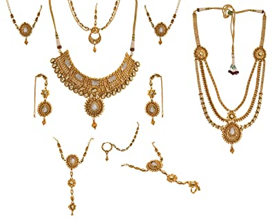 ae327abbd5 Buy Dazzle Gold Copper Bridal Jewellery Set for Women (BR-AGNS-004 ...