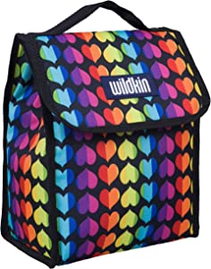 Wildkin Kids Insulated Lunch Bag for Boys and Girls, Lunch Bags is Ideal Size for Packing Hot or Cold Snacks for School and Travel, Mom's Choice Award Winner, BPA-Free (Rainbow Hearts)