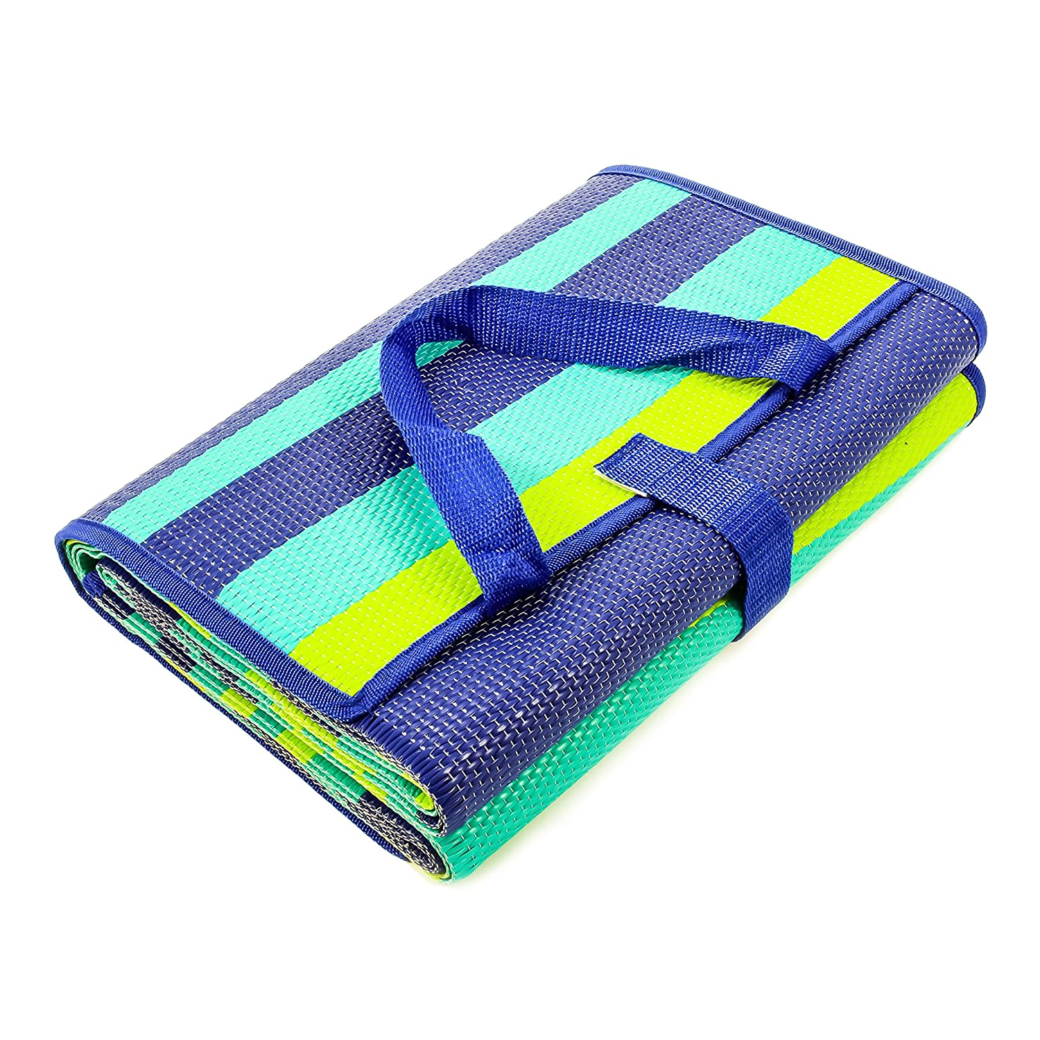 Camco Handy Mat with Strap, Perfect for Picnics, Beaches, RV and Outings, Weather-Proof and Mold/Mildew Resistant (Green/Turquoise - 60' x 78') (42806) Weather-Proof and Mold/Mildew Resistant (Green/Turquoise - 60 x 78) (42806)