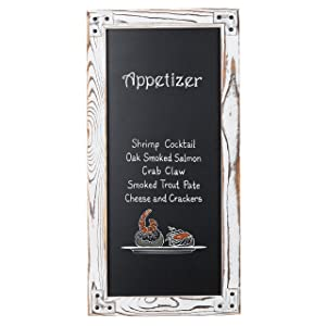 MyGift Wall-Mounted Erasable Chalkboard Sign with Rustic Whitewashed Wood Framed - 12 X 25-Inch