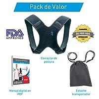 Orthocare Corrector de Postura Muy Comodo   Talla Mediana con Velcro Especial Ajustable para Mujer y Hombre   Alivio del Dolor de Espalda, Hombro y Cuello   con Ebook y Funda   Aprobado por la FDA
