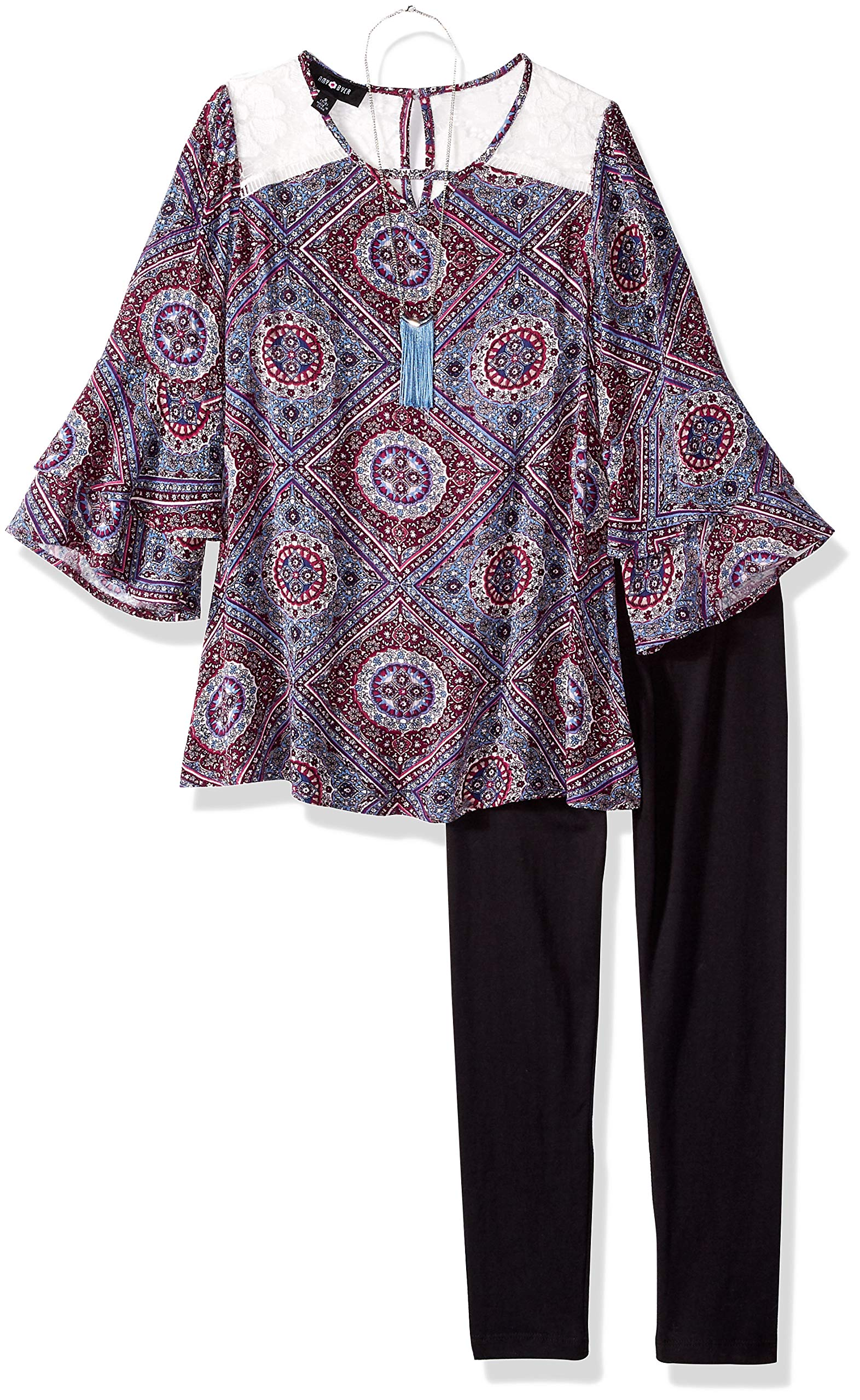 Amy Byer Big Girls' 3/4 Sleeve Top and Legging Outfit Set, Chambray/Plum Diamond Tile, L