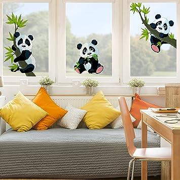 Amazon.de: Fenster Aufkleber Panda Bär Set Fensterfolie Fenster ...