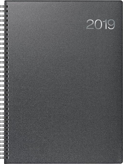 Brunnen 107636590 Buchkalender Modell 763, 2 Seiten = 1 Woche, 210 x 290 mm, Bucheinbandstoff Metallico vulkanschwarz, Kalendarium  2019, Wire-O-Bindung
