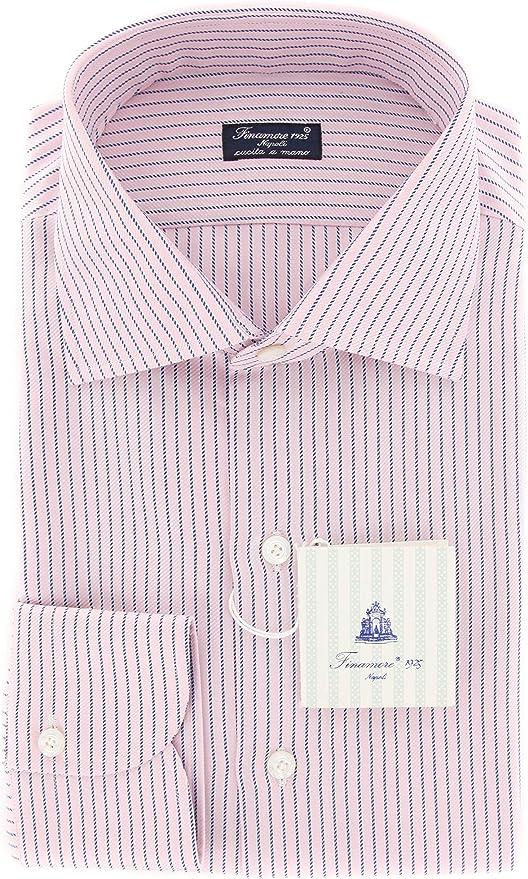 Finamore Napoli Pink Stripes Button Down Spread Collar Cotton Slim Fit Dress Shirt Size Medium 16