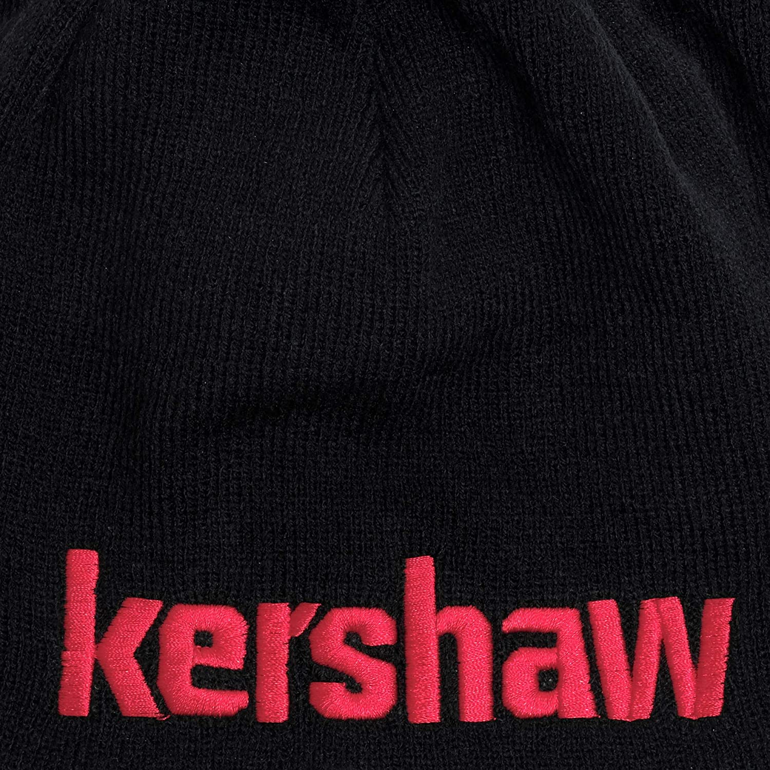 ; Made of Comfortable 100/% Knitted Acrylic Material; Reversible Black Exterior with Red Knit-in Logo and Solid Red Interior; One-Size-Fits-Most; Washable BEANIEKER18 Kershaw Two-in-One Beanie