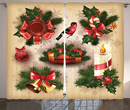 ambesonne christmas decorations curtains vintage christmas classical religious objects candle bell mistletoe ribbon bird print - Religious Christmas Decorations