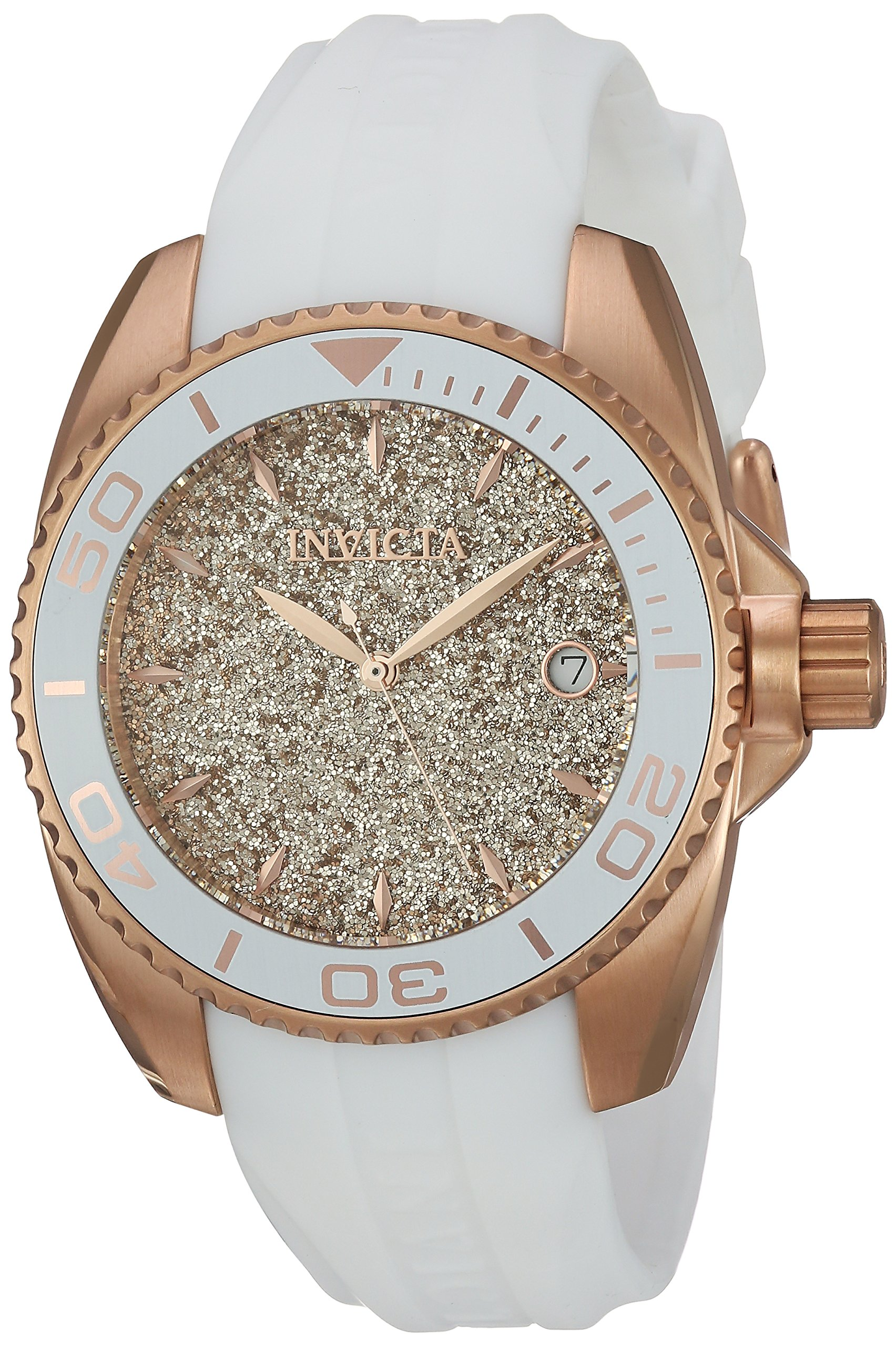 Invicta Women's 'Angel' Quartz Stainless Steel and Silicone Casual Watch, Color:White (Model: 22704)