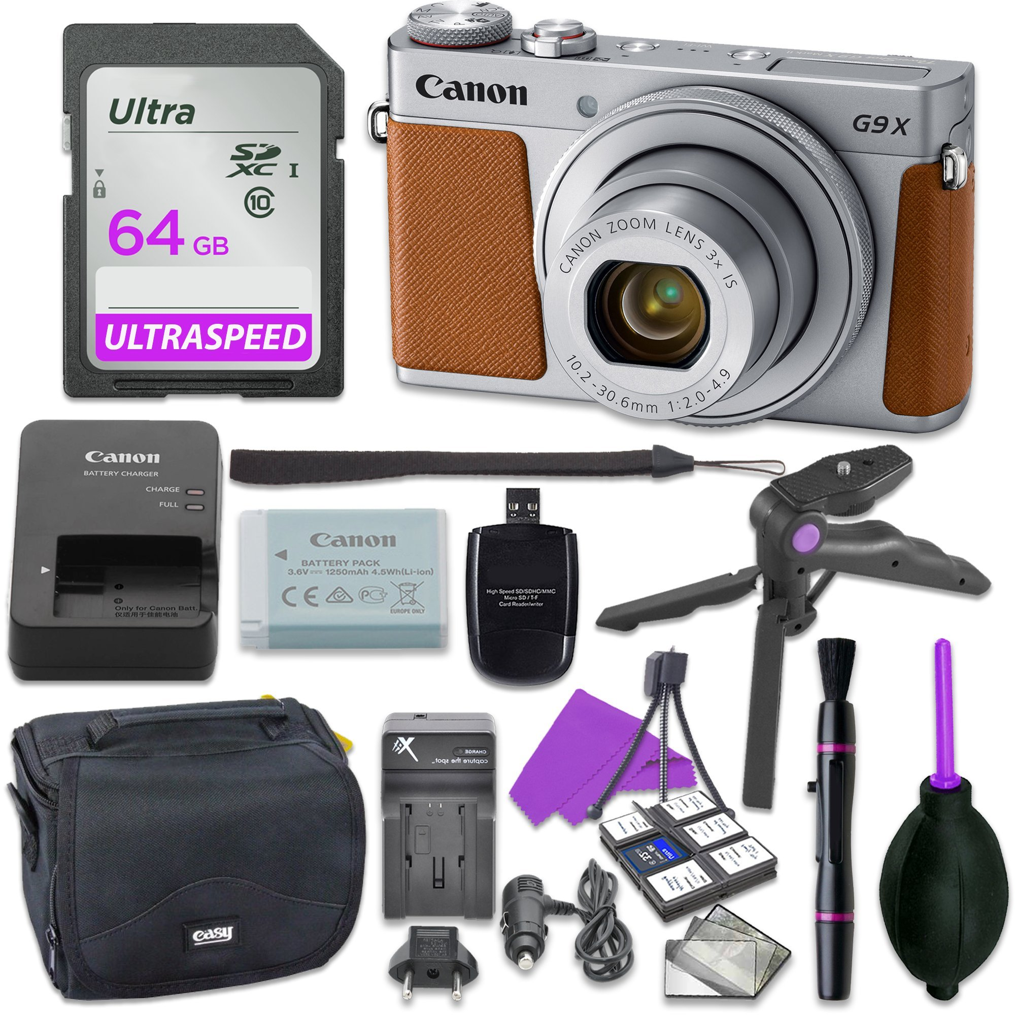 Canon Powershot G9 X Mark II Point & Shoot Digital Camera Bundle w/ Tripod Hand Grip , 64GB SD Memory , Case and More (Silver) by Canon