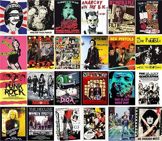 Tarjeta Postale Set 24pcs Punk Rock Sex Pistols Vintage Movie Poster Artwork: Amazon.es: Oficina y papelería