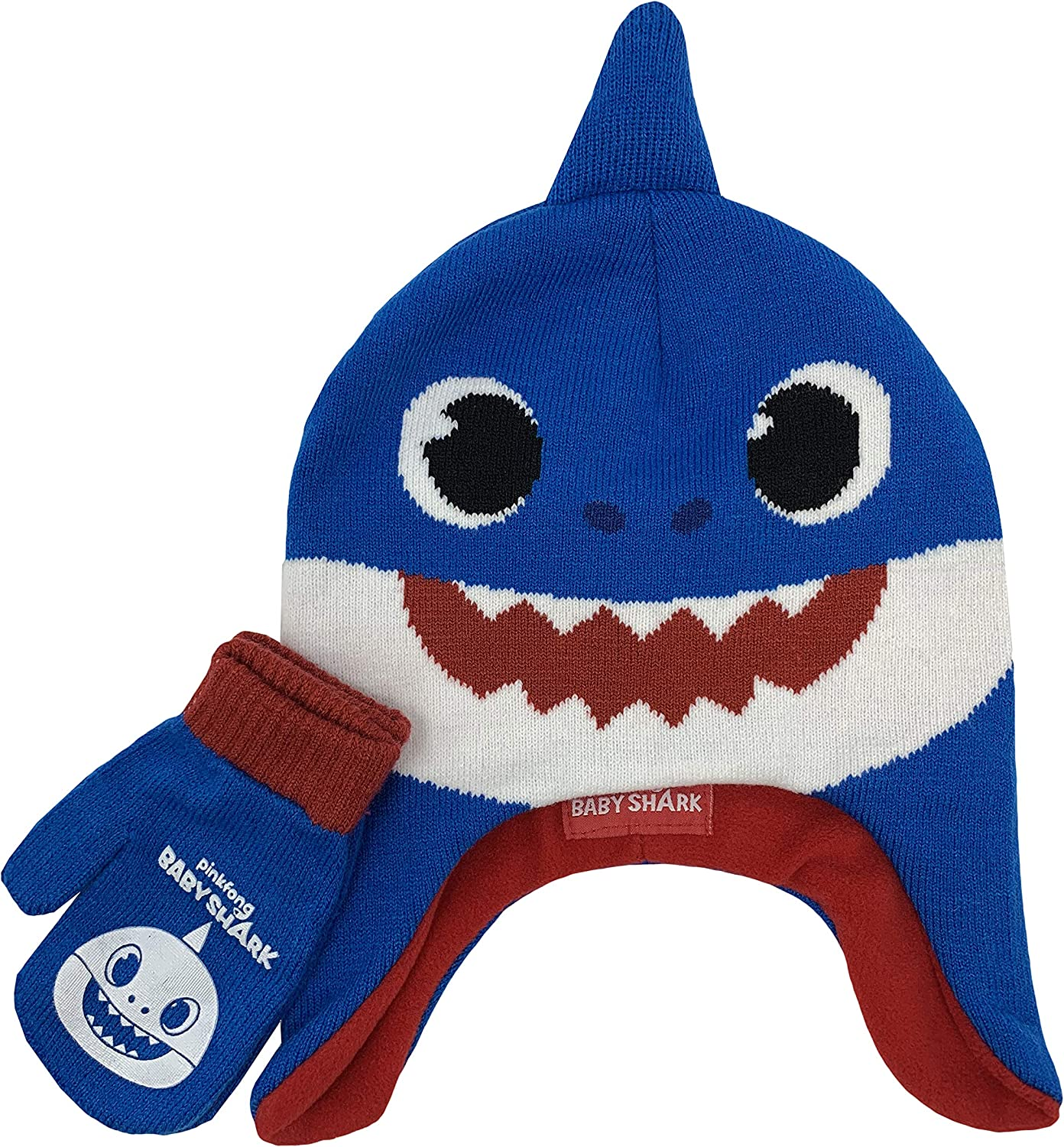 Baby Shark Winter Hat and Glove Set, Ages 2-5 Blue