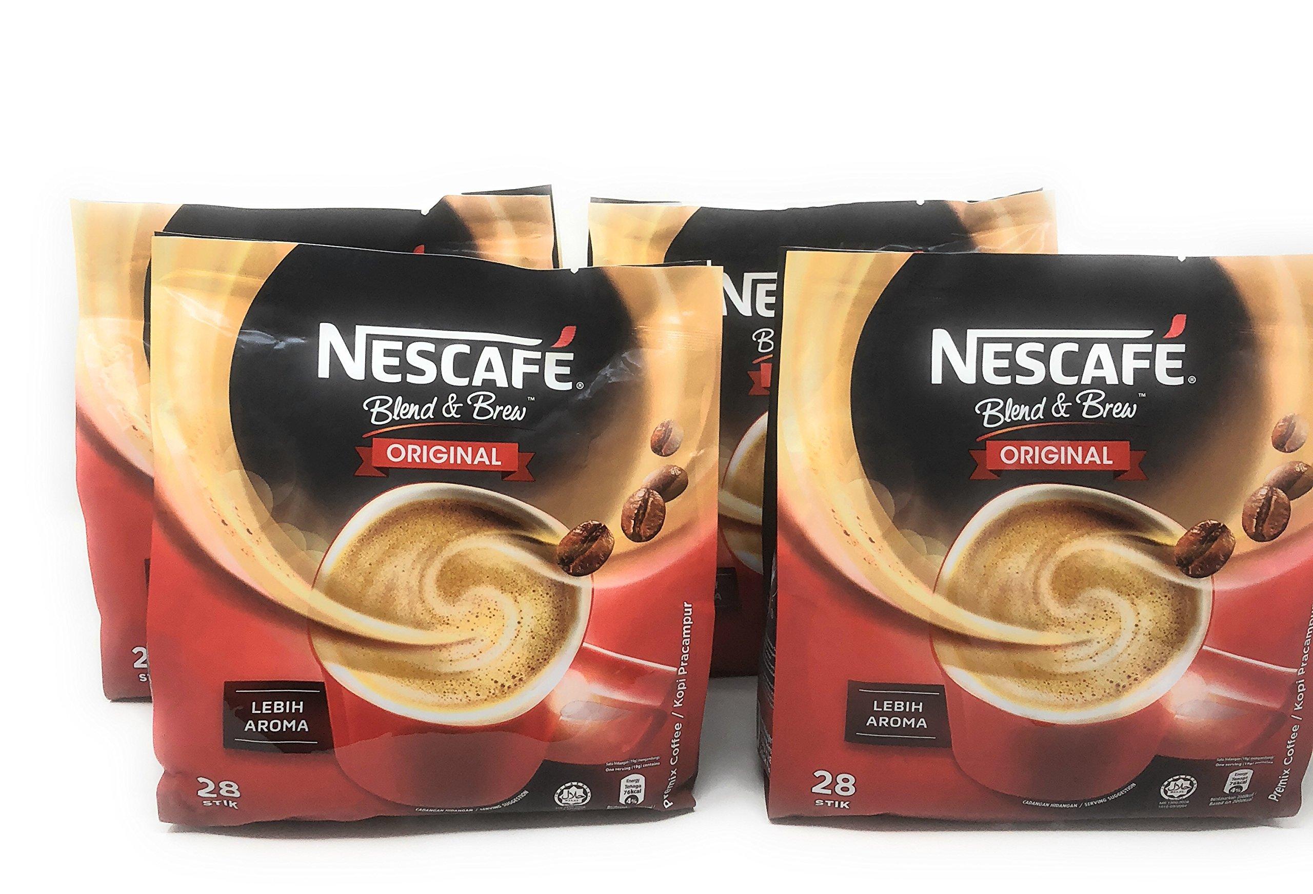 4 Packs Nescafé 3-in-1 ORIGINAL Premix Instant Coffee Single Serve Packets - Total 112 Sticks