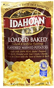 Idahoan Mashed Potatoes, Loaded Baked Potato, 4-Ounce Package (Pack of 12)