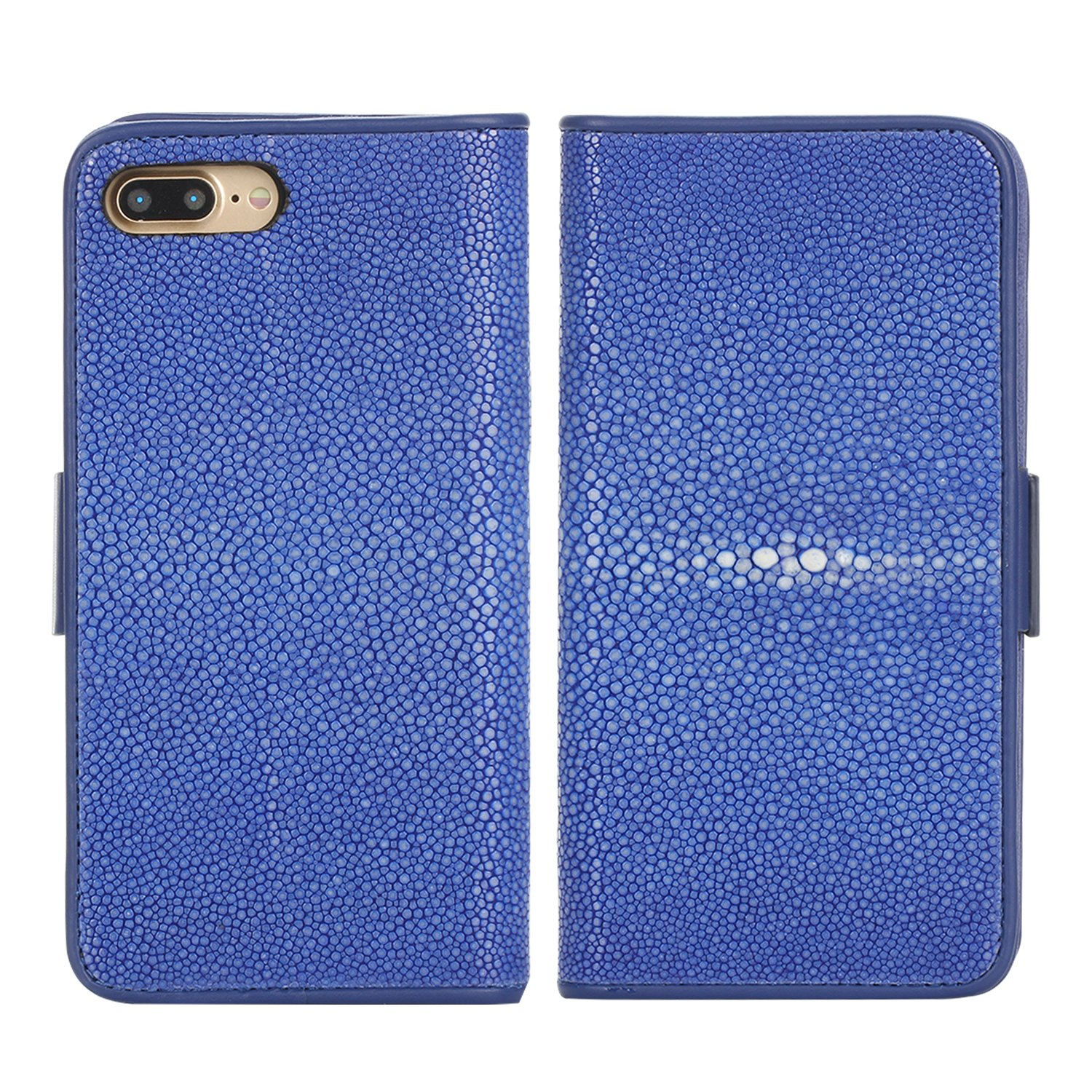 Luxury Wallet Cover For iPhone 7 Plus and 8 Plus (5,5)'' - Hand Made from Genuine Stingray Fish Skin, Premium Case by Trop Saint - Blue