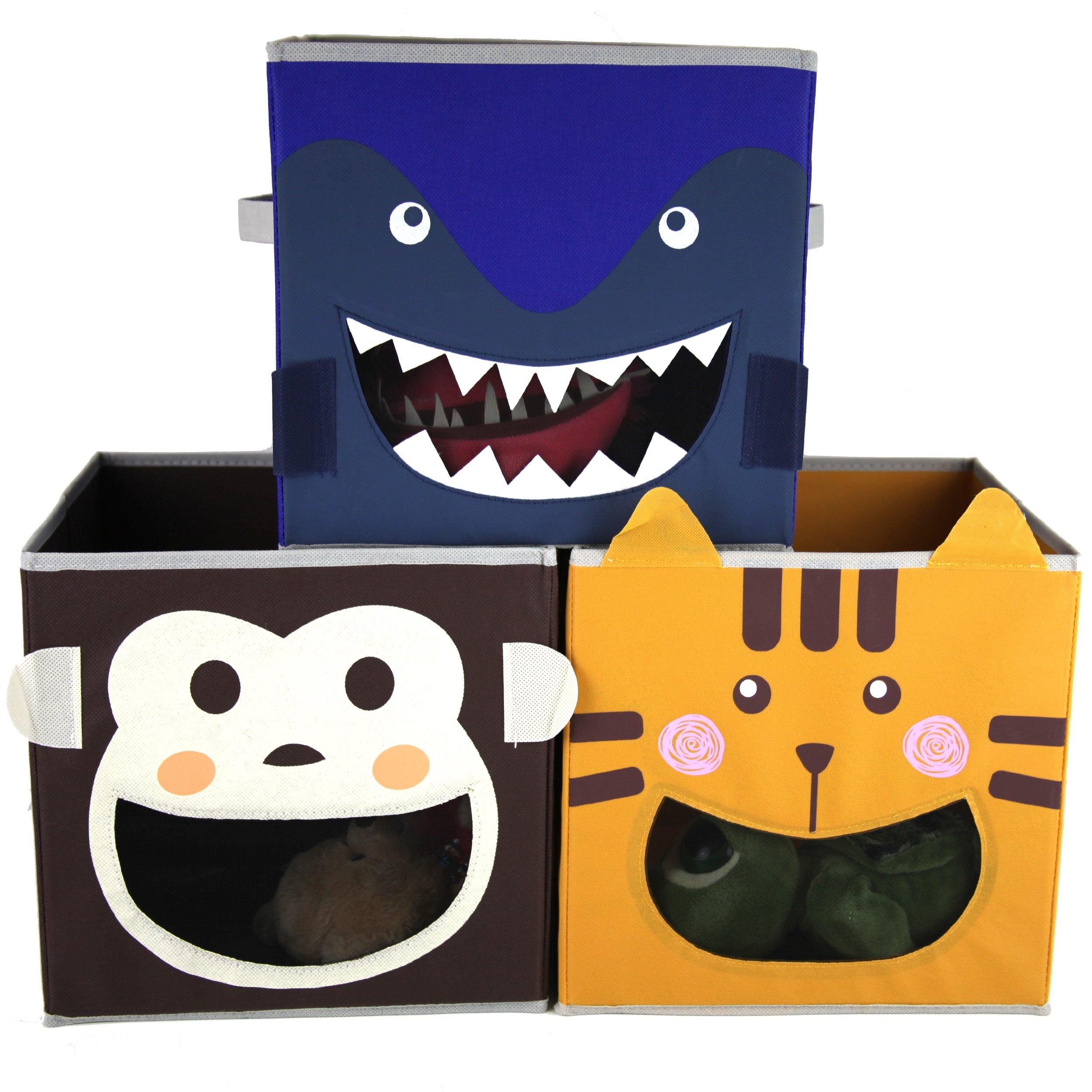 Paylak SCR499 Kids Storage Organizer Bins Fabric Set of 3 Animal Print with Handle