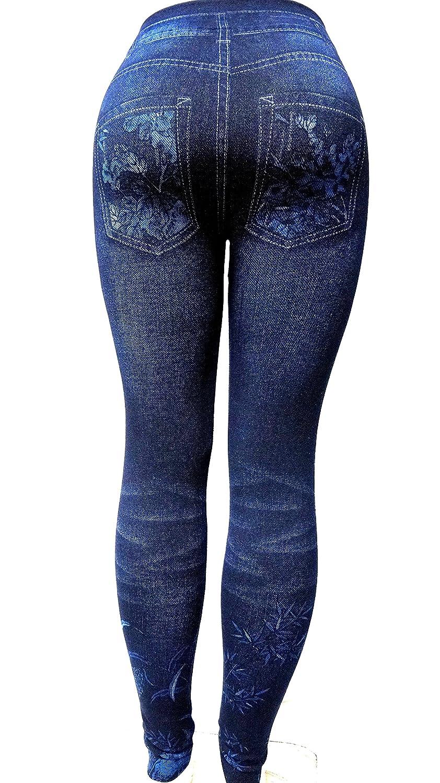 david collection Womens S-M-L Size Leggings//Jeggings Skinny Leg Print Denim Jeans Style One Size