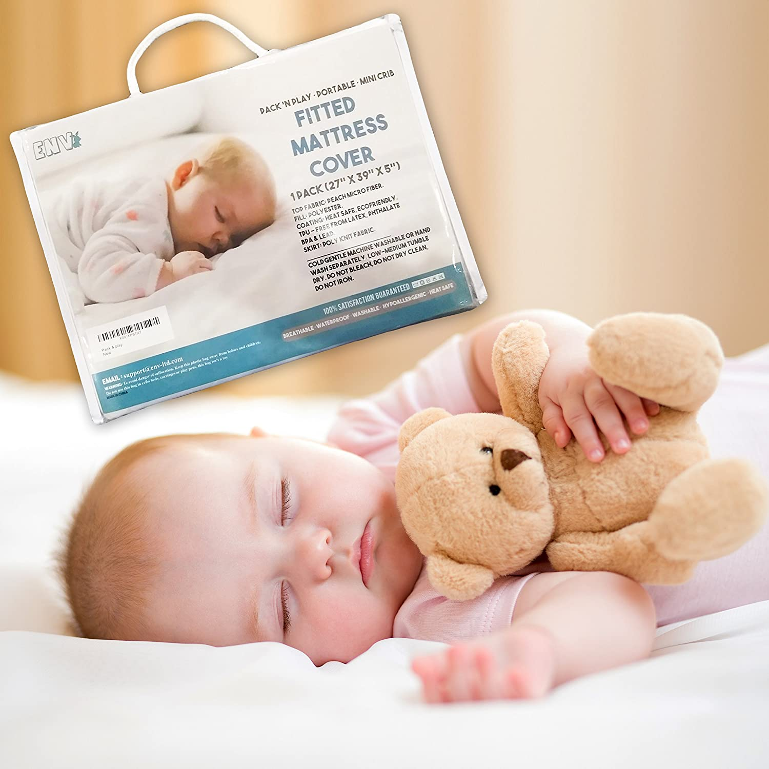 Crib Mattress Pad Cover for Baby Pack N Play, Fits All Portable Cribs, Mini & Foldable Mattresses, Waterproof, Dryer Safe, Cushioned & Comfy! Hypoallergenic, Toxin Free, Fitted Crib Protector! ENV Company