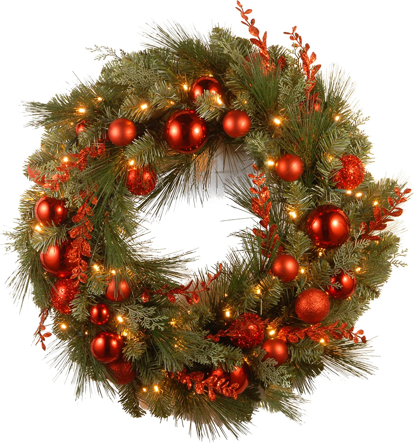 National Tree Company Pre-lit Artificial Christmas Wreath Decorative Collection | Flocked with Mixed Decorations and Pre-strung LED Lights | Red Mixed - 24 Inch