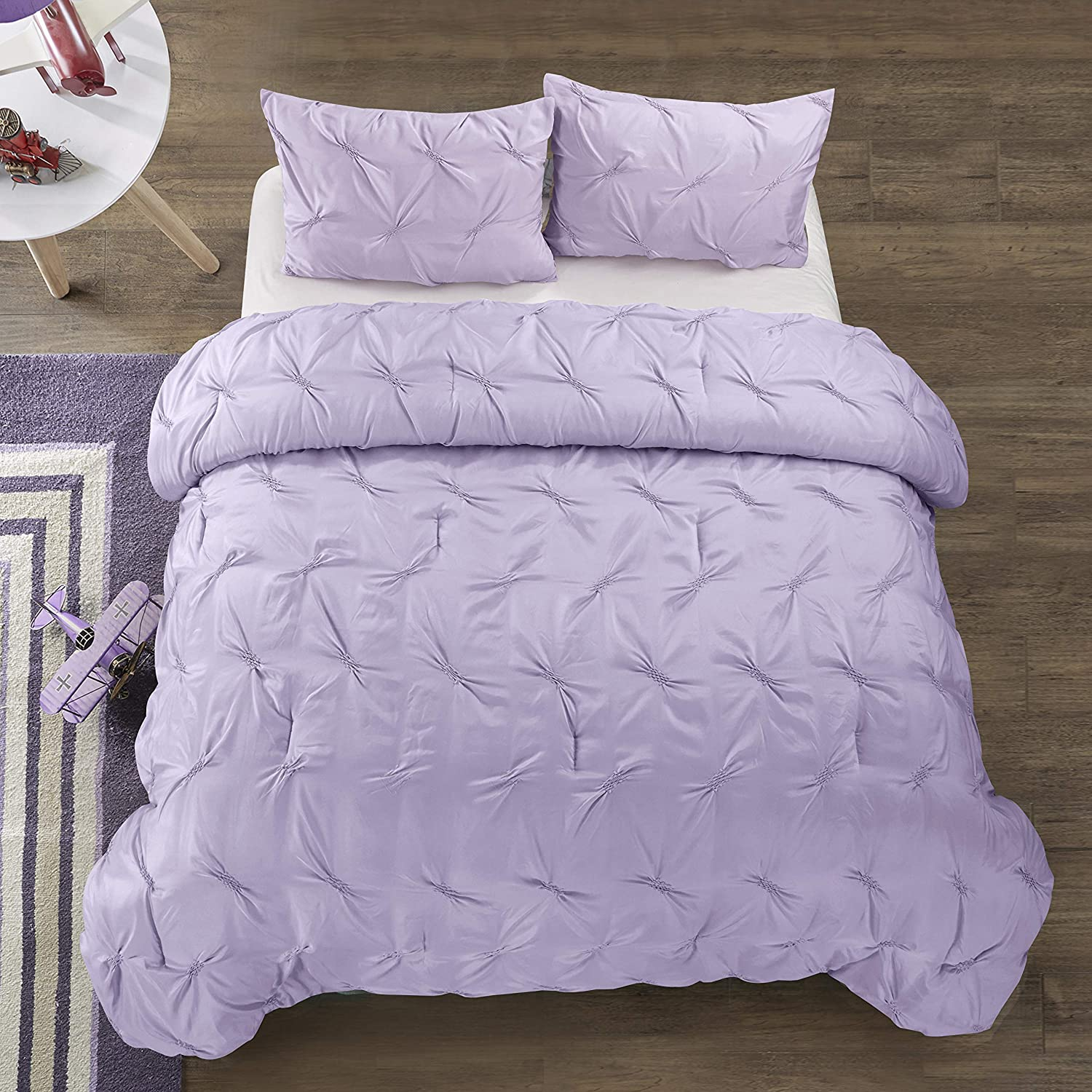 Purple All Season Breathable 3 Piece Kids and Teen Solid Pintuck Comforter Set Alternative Microfiber Full Sierra for Boys and Girls Hypoallergenic Heritage Club Ultra Soft