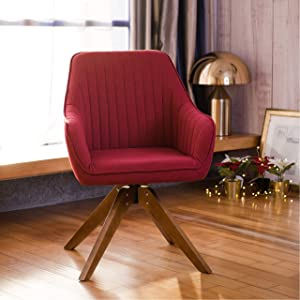 Art Leon Mid-Century Modern Swivel Accent Chair Cardinal Red with Wood Legs Armchair for Home Office Study Living Room Vanity Bedroom