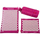 Spoonk - Back pain and sleep aid relief in coton regular size acupressure mat with bag Eco USA foam,Magenta